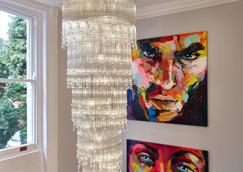 Aqua Droplets Stairwell IV Luxury Contemporary Chandelier